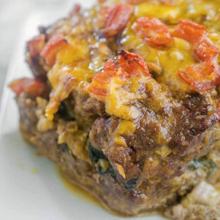 Veggie Stuffed Meatloaf - filled with spinach, onions, BBQ sauce, and cheese