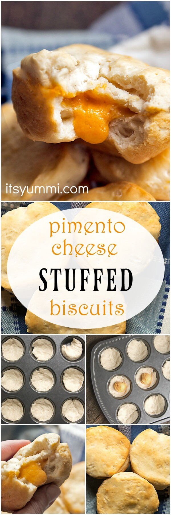 Pimento Cheese Stuffed Buttermilk Biscuits - quick and easy biscuits recipe! Semi-homemade OR made from scratch. #biscuits #southern_food