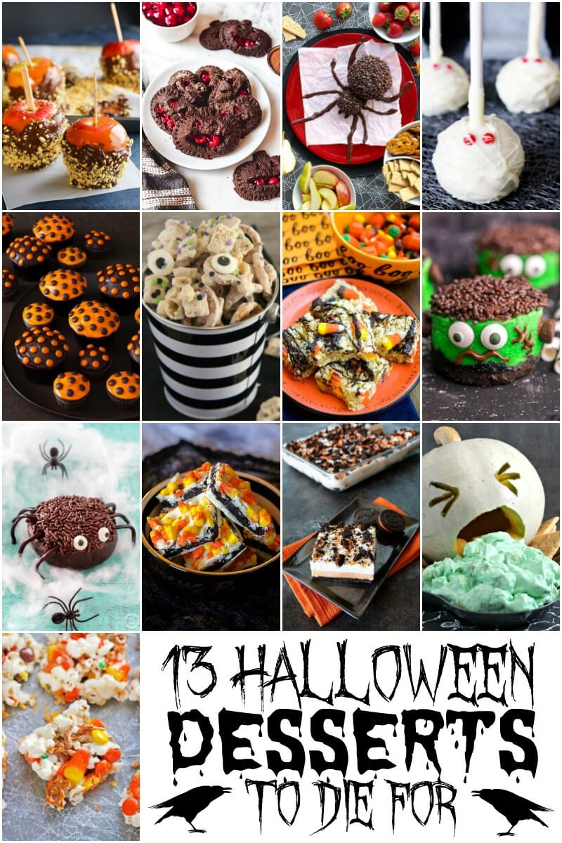 photo collage of 13 Halloween Desserts