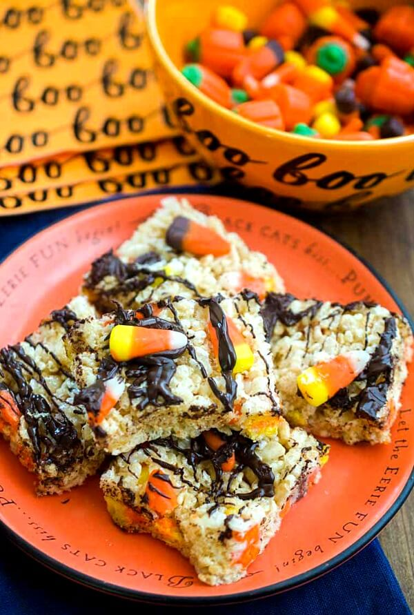 a plate of Halloween themed chocolate rice crispy treats