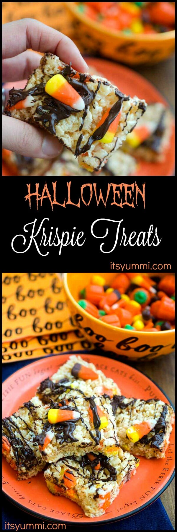 Halloween Rice Krispie Treats are the perfect sweet crispy treats for a #Halloween party or #TrickOrTreat. Add popsicle sticks and they can easily become Halloween Rice Krispie treats on a stick!