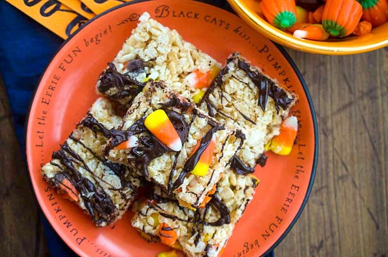 a plate of Halloween Rice Krispie Treats