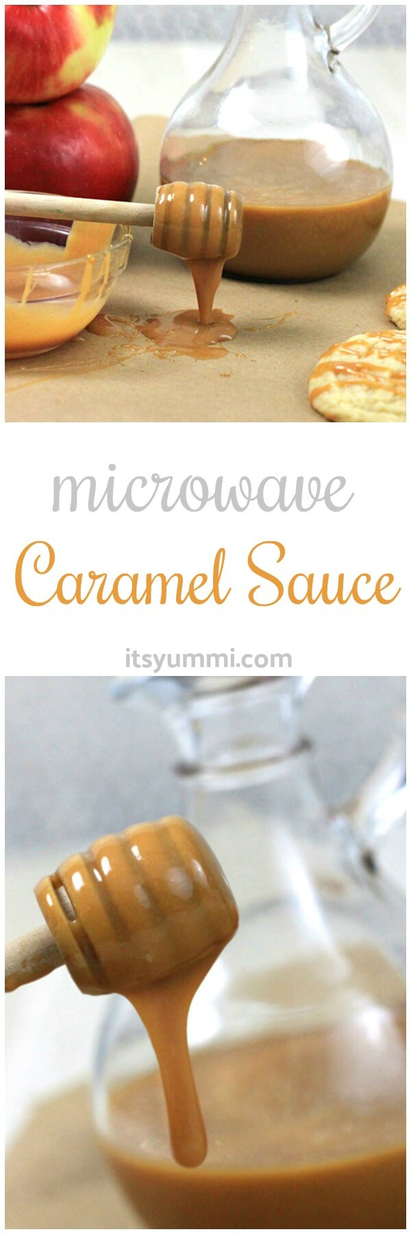 Microwave caramel sauce is the quickest way to make homemade caramel sauce. No candy thermometer is needed! easy caramel sauce recipe cooks in 5 minutes! #desserts