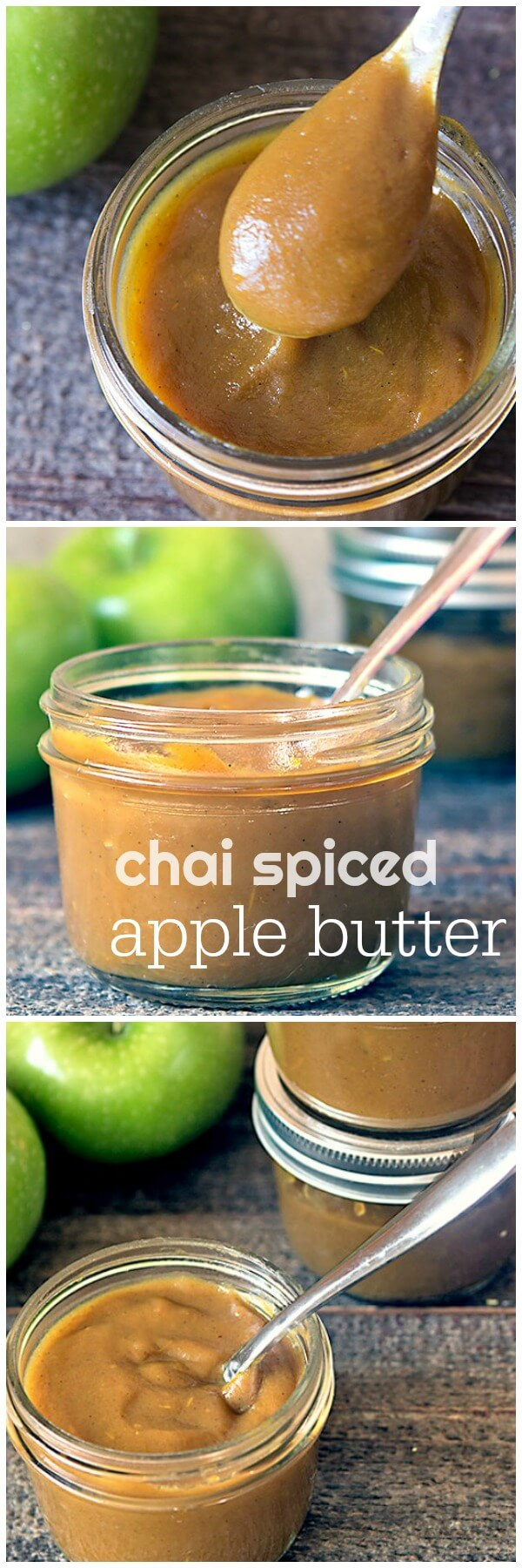 Chai spiced apple butter is SO quick and easy to make in an Instant Pot multicooker or a slow cooker! This delicious homemade apple butter recipe can be served as a spread on toast or crackers, as a healthy dip for fruit or vegetables, a topping for meats, or even as a dessert sauce! #instantpot #recipe #slowcooker