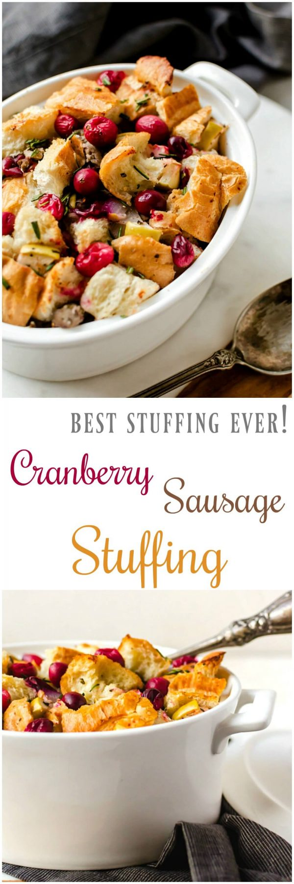 Cranberry Sausage Stuffing. Whether it's baked in a pan or stuffed inside of a holiday turkey, this is the best stuffing I've ever eaten! #Thanksgiving #stuffing #dressing #recipe
