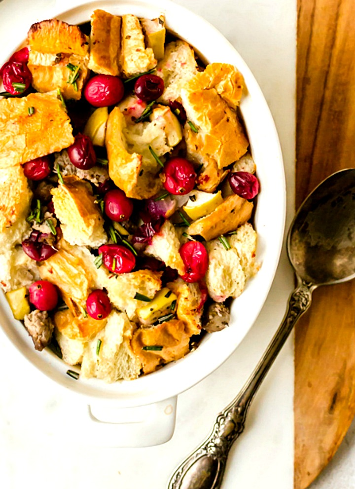 sausage stuffing with fresh cranberries and rosemary