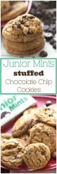 Junior Mints candy, stuffed inside of homemade, chewy chocolate chip cookies. ThisJunior Mints chocolate chip cookie recipeis perfect to make with leftover Halloween candy! #halloween #cookies #desserts