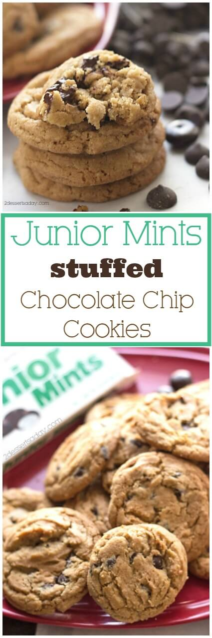 Junior Mints candy, stuffed inside of homemade, chewy chocolate chip cookies. This Junior Mints chocolate chip cookie recipe is perfect to make with leftover Halloween candy! #halloween #cookies #desserts
