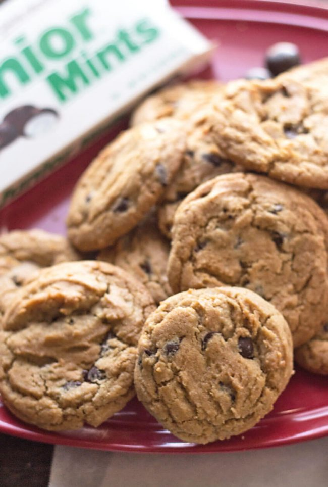 a plate of chewy chocolate chip cookies without brown sugar