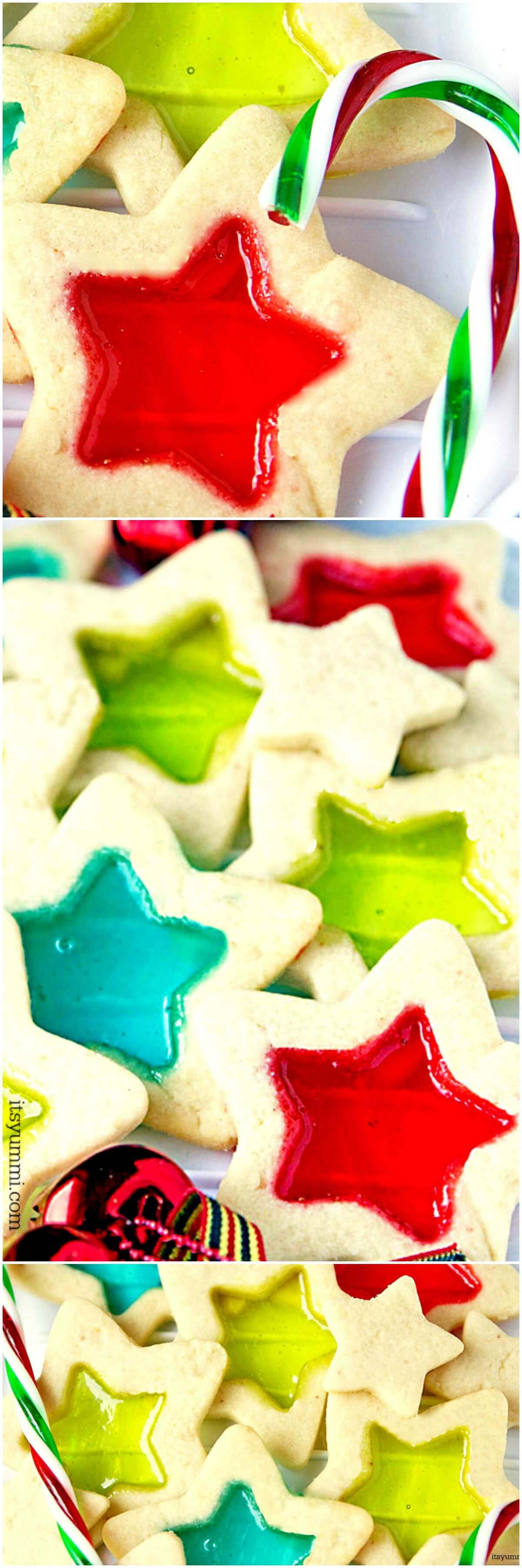 Stained Glass Christmas Cookies are beautiful, delicious, and easy to make Christmas cookies.  This Christmas cookie recipe starts with soft butter cookie dough, rolled out and cut into holiday shapes, then filled with melted candies to look like stained glass. #christmas #cookies