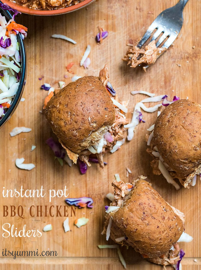 Instant Pot BBQ chicken sliders - titled image