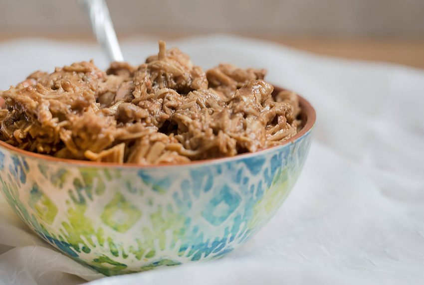bowl of bbq pulled chciken, made in an Instant Pot