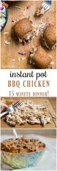 Instant Pot BBQ chicken - an easy pressure cooker chicken recipe, made in 15 minutes! Add it to your favorite soup or casserole recipe. Or, make Instant Pot pulled chicken sliders.#instantpot #recipe #bbq #pressurecooker