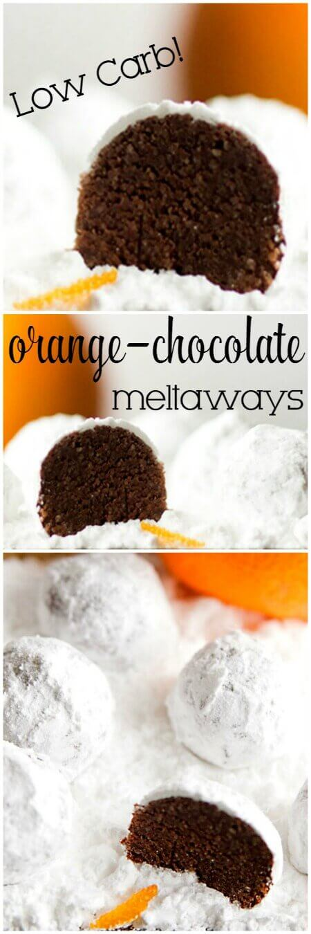 Titled photo collage (and shown): Low Carb Orange Chocolate Meltaways