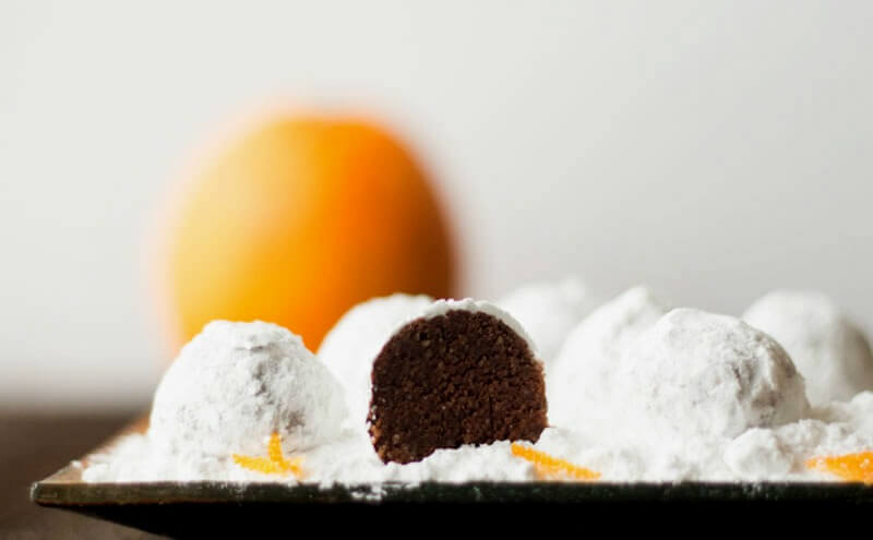 plate of chocolate orange low carb snowball cookies