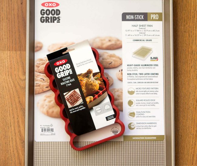 oxo sheet pan and silicone roasting rack