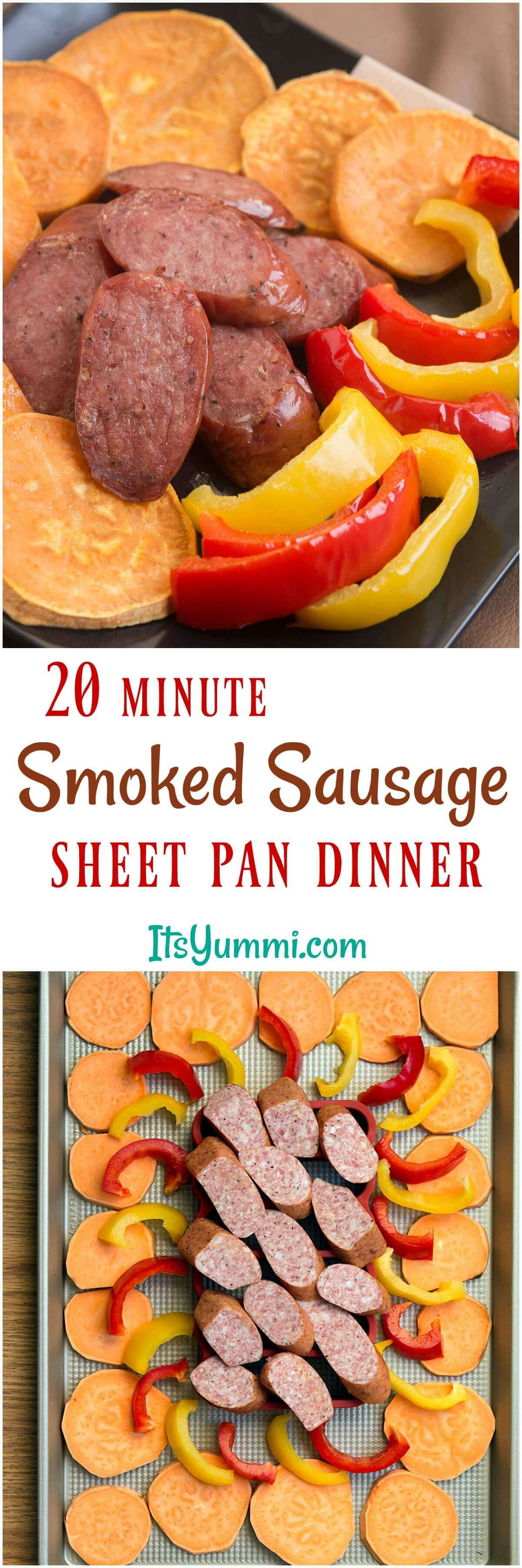 This easy sausage sheet pan dinner is a delicious and quick weeknight meal! Smoked sausage, sweet potatoes, and bell peppers are lightly seasoned, then roasted for 20 minutes in this one pan dinner recipe. #onepan #sheetpan #dinner #recipe