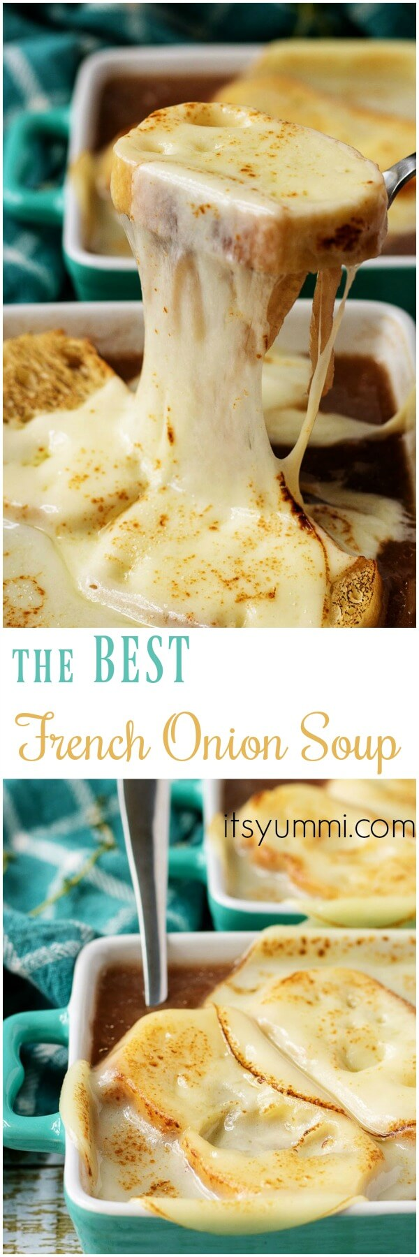 collage image of French onion soup