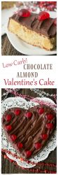 Low Carb Chocolate Almond Flour Cake baked in a heart shaped pan for Valentine's Day