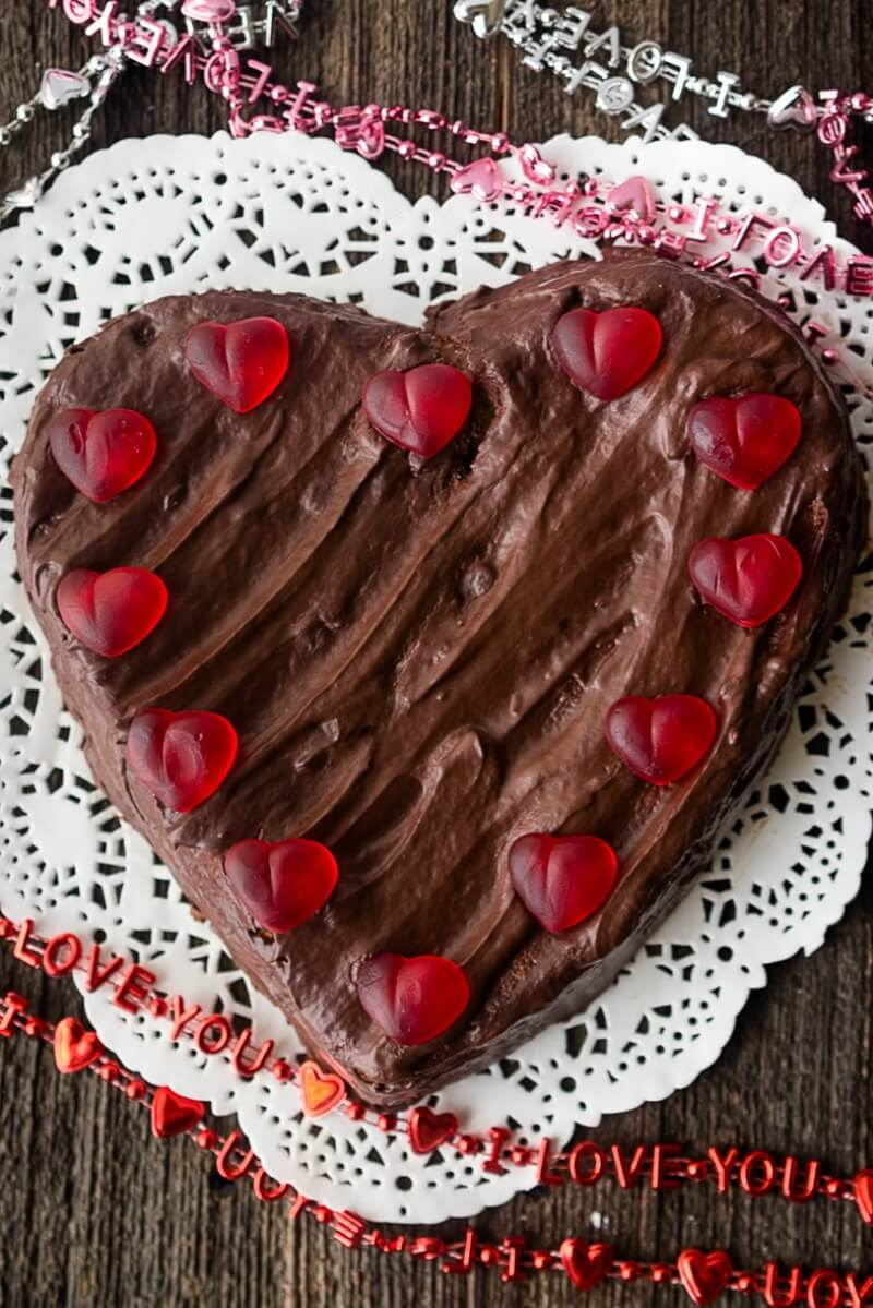 Low Carb Chocolate Almond Flour Cake baked into a heart shape for Valentine's Day