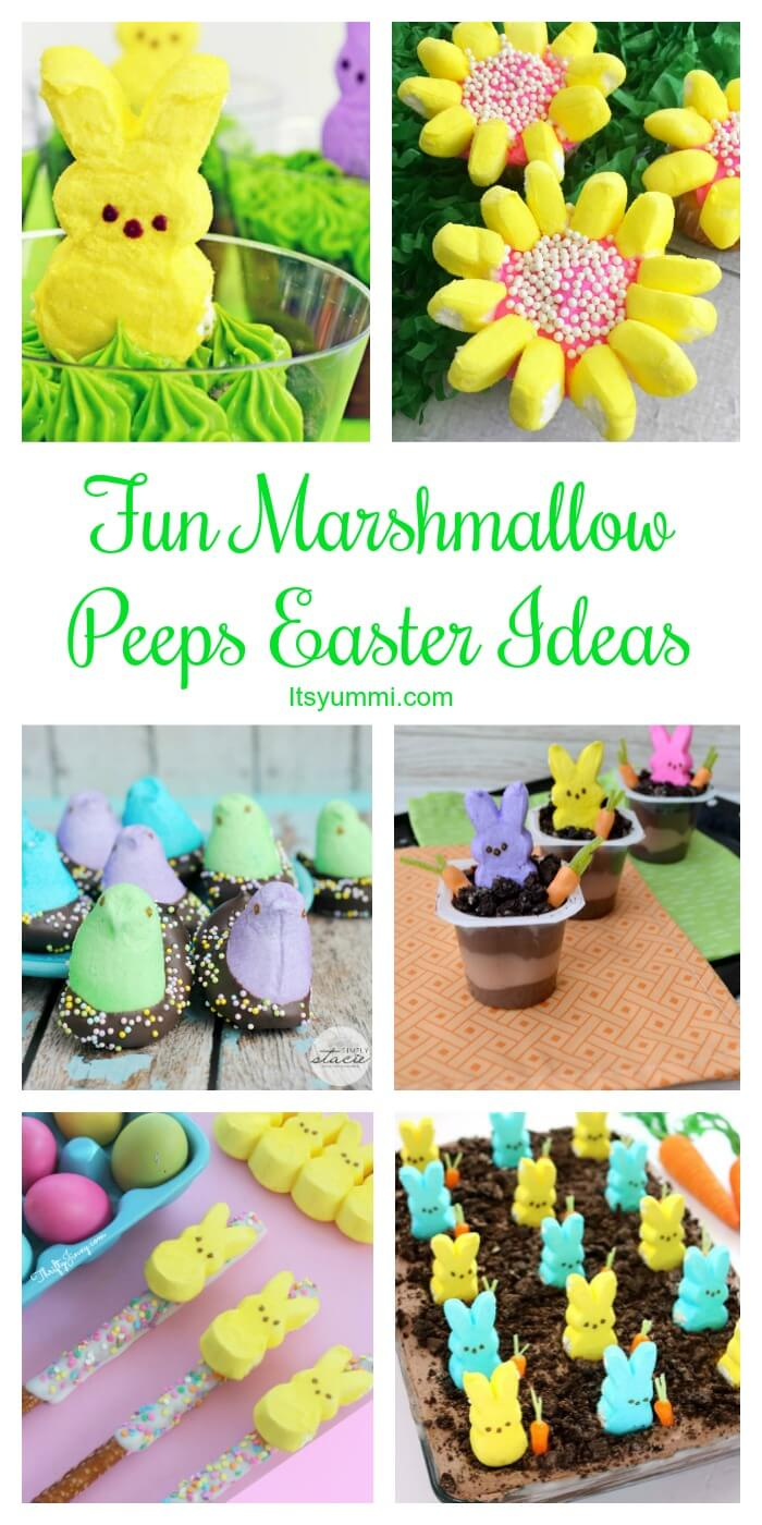 titled photo collage of fun marshmallow Peeps Easter ideas