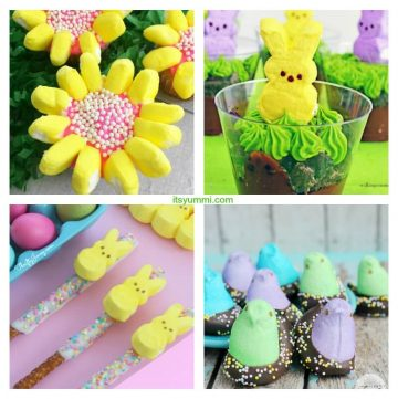 collage of recipes made with Easter marshmallow peeps