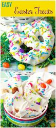 titled photo collage - Easy Easter Treats - collage shows a bowl of white chocolate Bunny bark and white chocolate covered pretzels with colored sprinkles