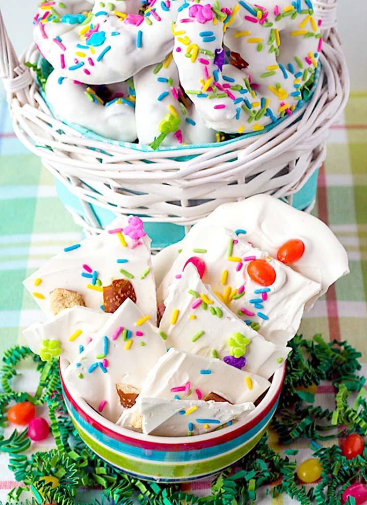 2 Homemade Easter Treats – Chocolate Pretzels and Bark
