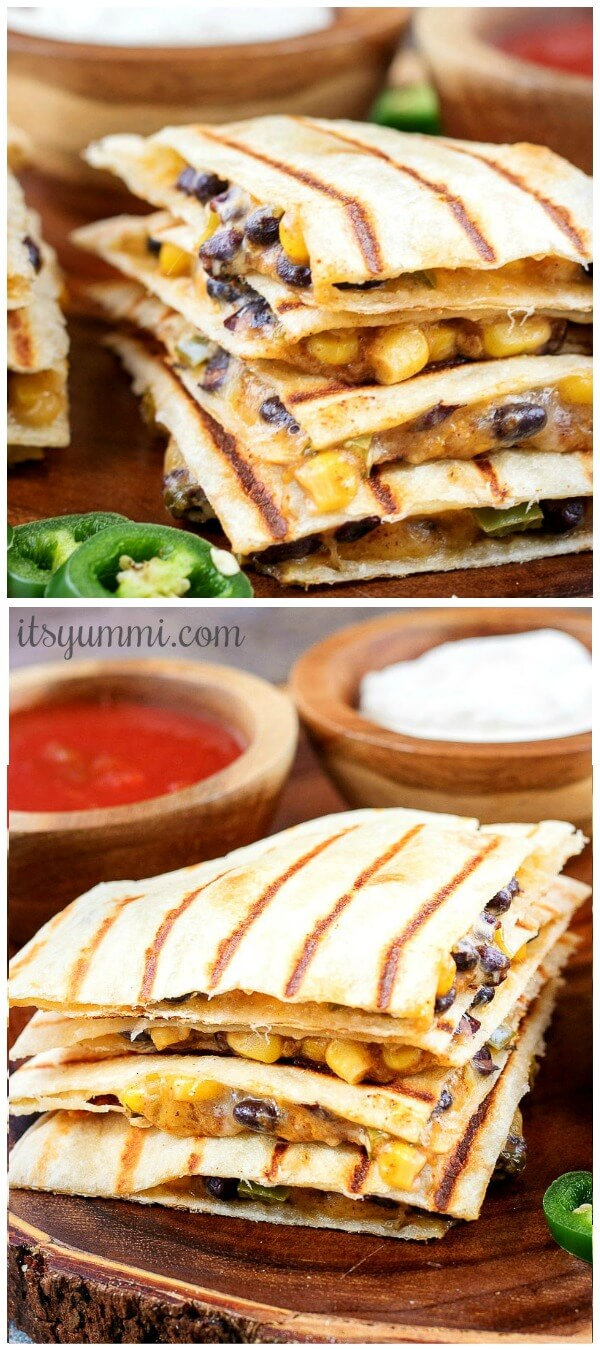 untitled photo collage of vegetarian quesadillas with spicy corn and black bean filling