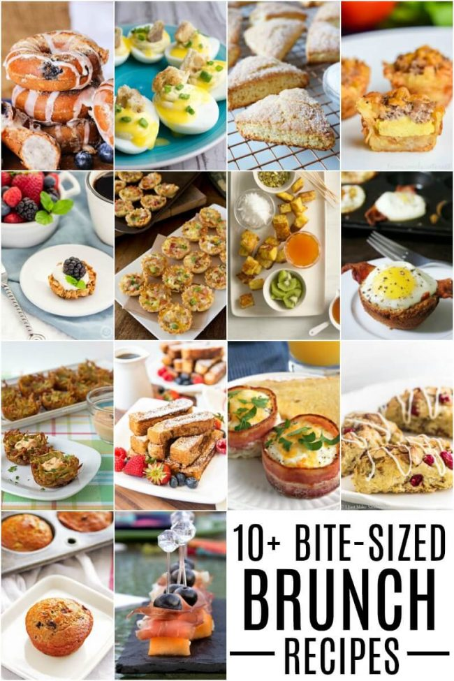 titled photo collage of bite sized brunch recipes