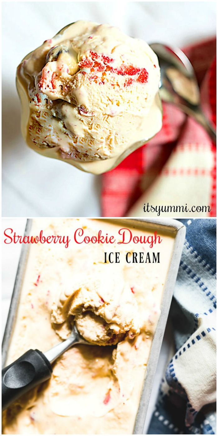 titled photo collage (and shown): Strawberry Cookie Dough Ice Cream