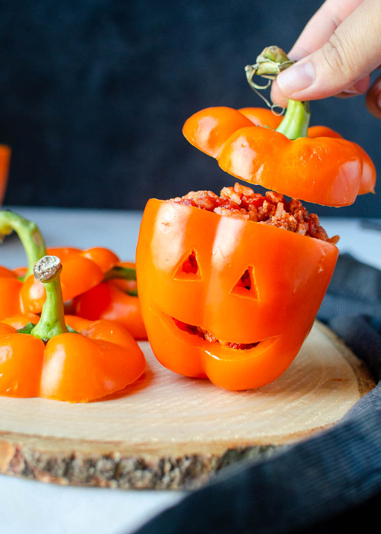 Halloween Stuffed Peppers Jack O Lanterns