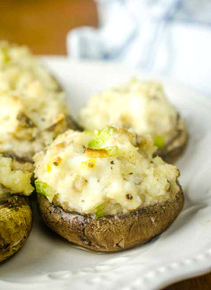 stuffed mushroom recipe made with seafood and cream cheese