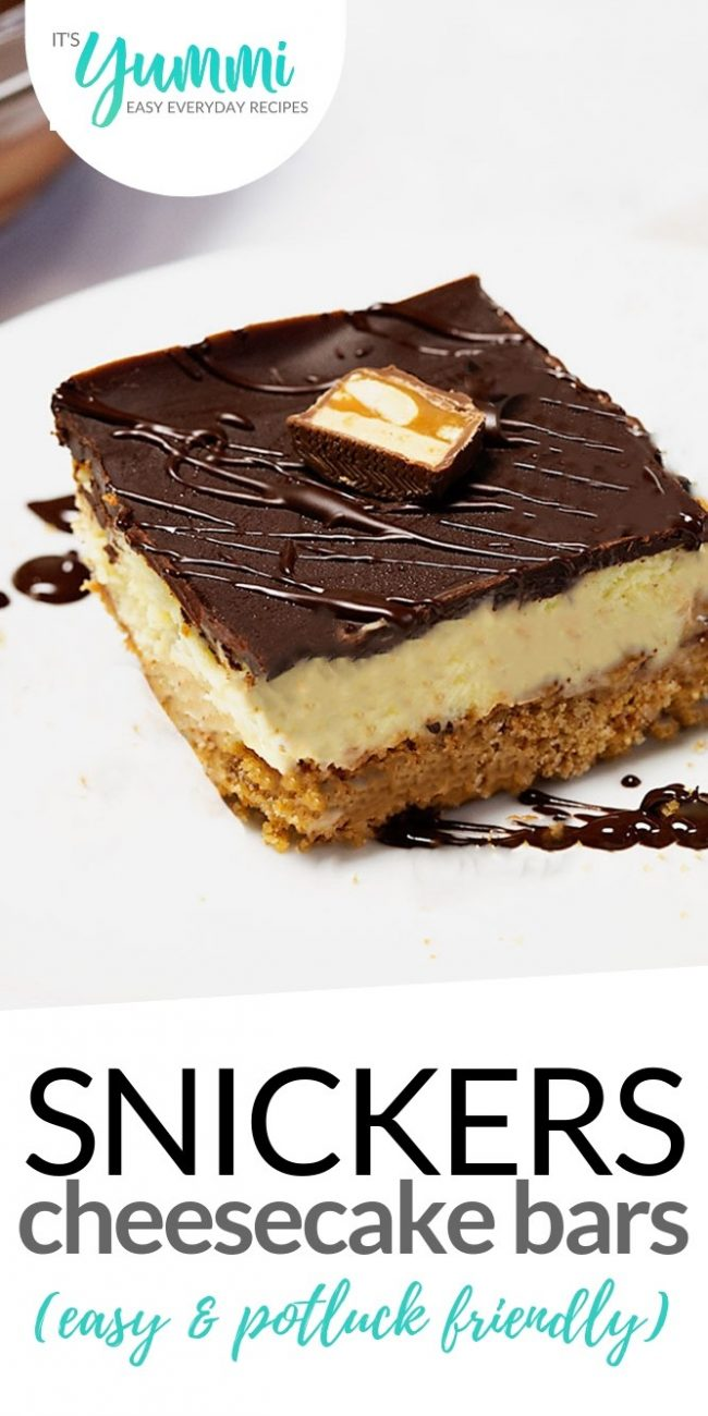 SNICKERS CHEESECAKE BARS WITH BROWN BUTTER CRUST