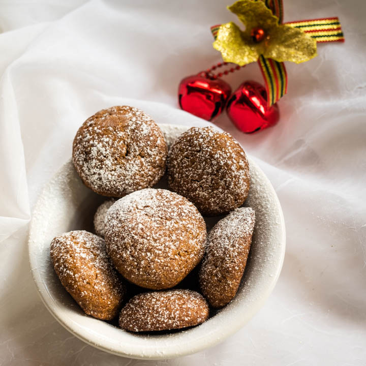 bowl of chewy ginger molasses cookies