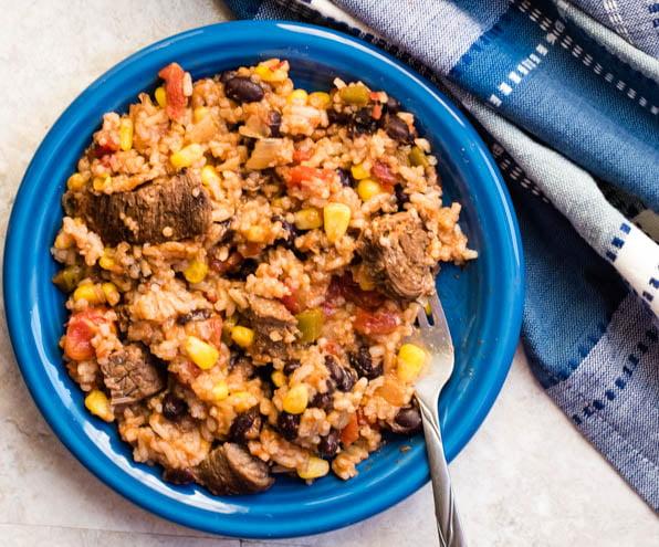 instant pot Beefy Spanish Rice recipe image