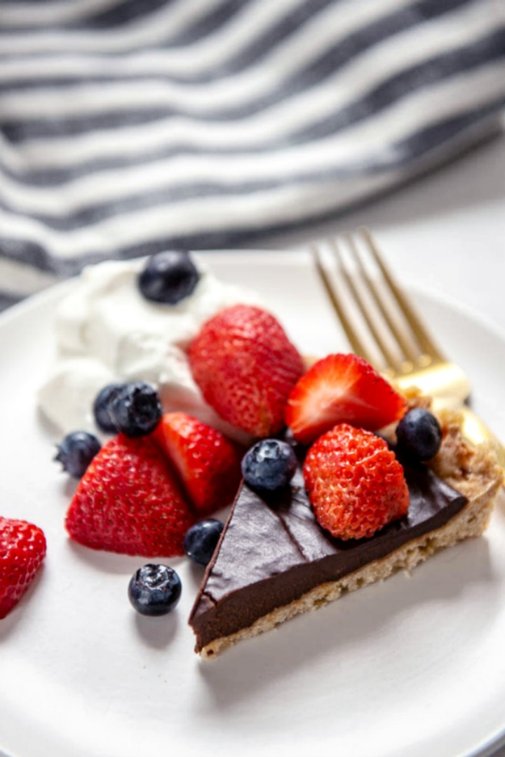plated slice of dark chocolate ganache tart topped with fresh berries