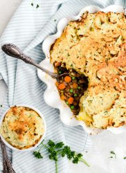Irish dinner of shepherds pie with lamb