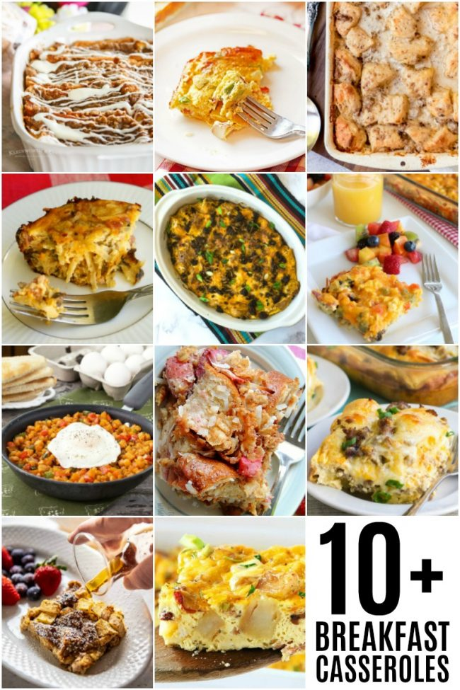 photo collage of easy breakfast casseroles