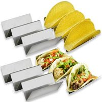 Zen Earth Kitchen 4 Pack Taco Holder No Logo – Set Of 4 Stainless Steel Taco Racks – Stable 6.3 x 4 Inch Taco Tray Fits Most Plates – Oven & Dishwasher Safe Taco Shell Holder – Holds 3 Tacos Each (4)