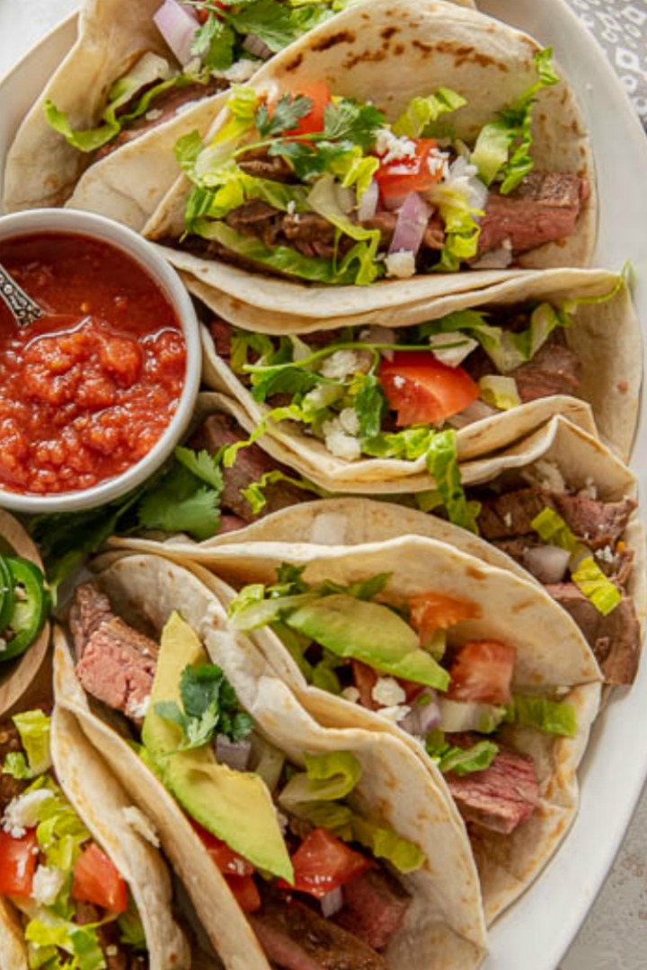 platter of soft steak tacos using pan seared steak