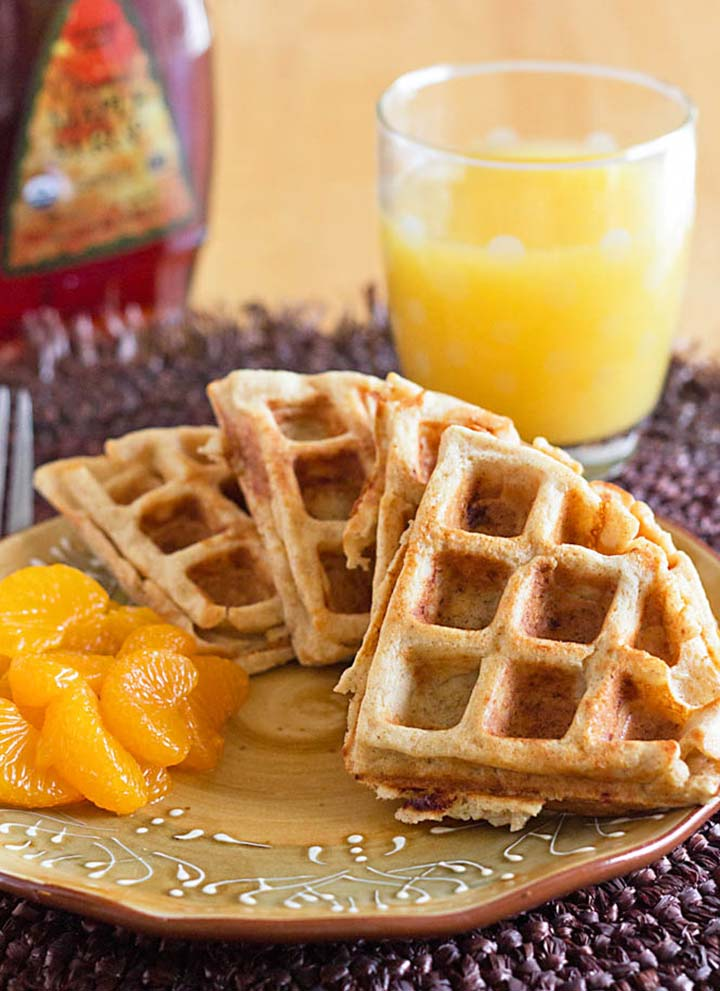 Whole Wheat Waffles made in the Blender