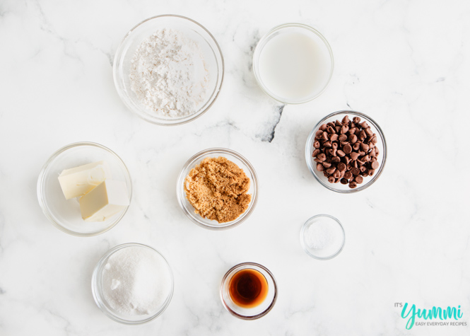Ingredients needed for cookie dough