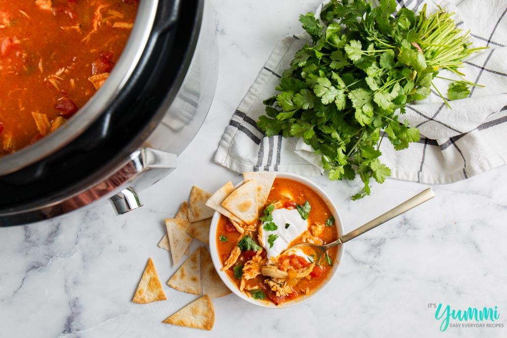 recipe for chicken enchilada soup with instant pot instructions